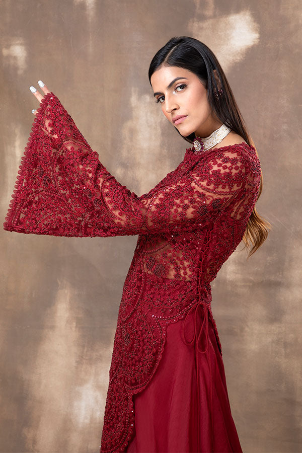 ROSA EMBROIDERED SCALLOPED ASYMMETRIC KURTA SET