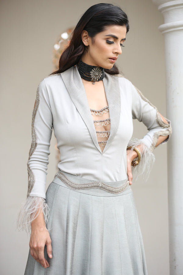 steel-grey-shirt-with-layered-skirt