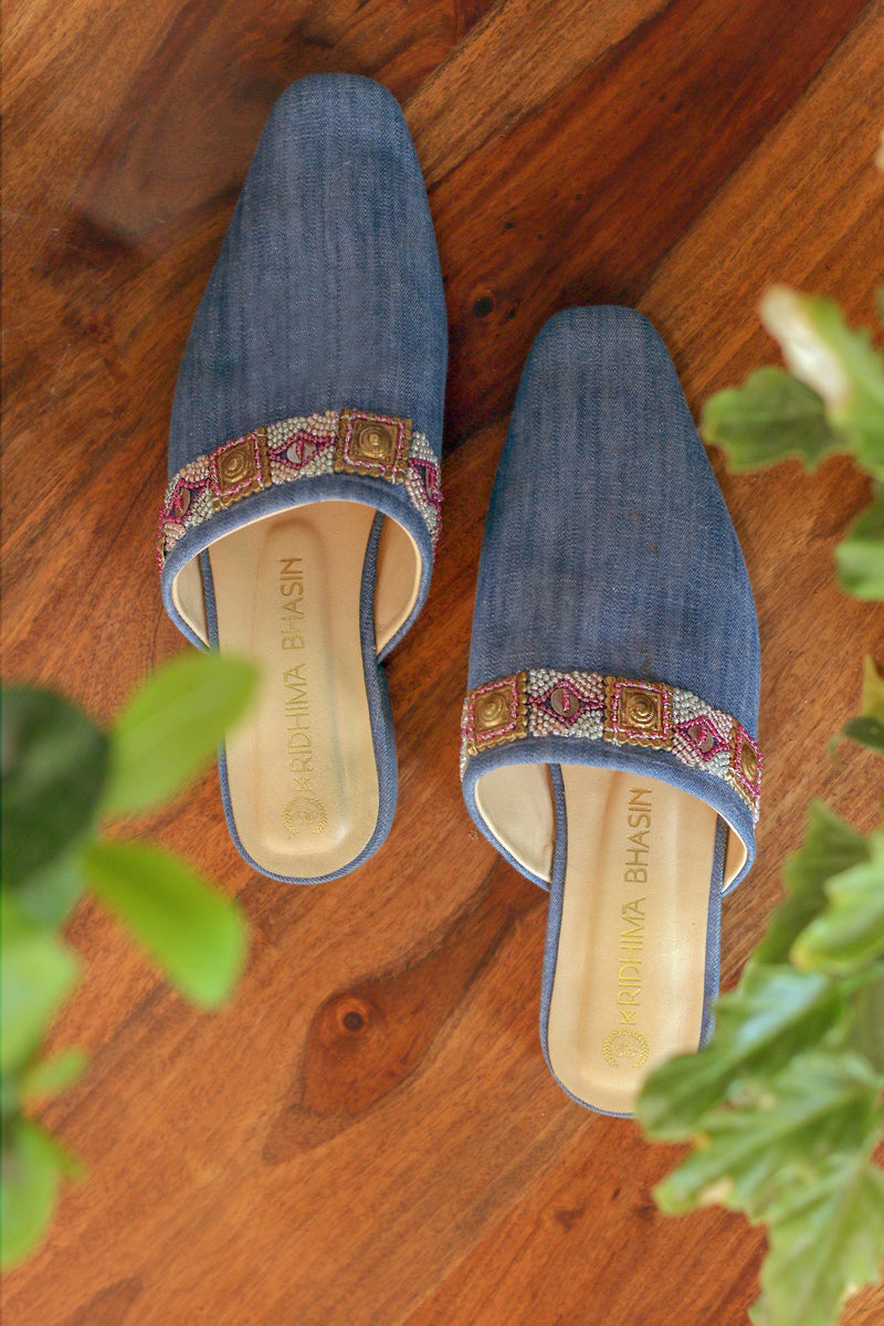 DENIM EMBROIDERED MULES