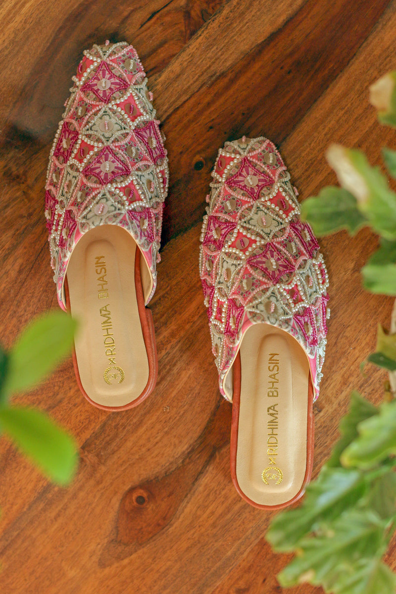 CANDY PINK PRINTED MULES