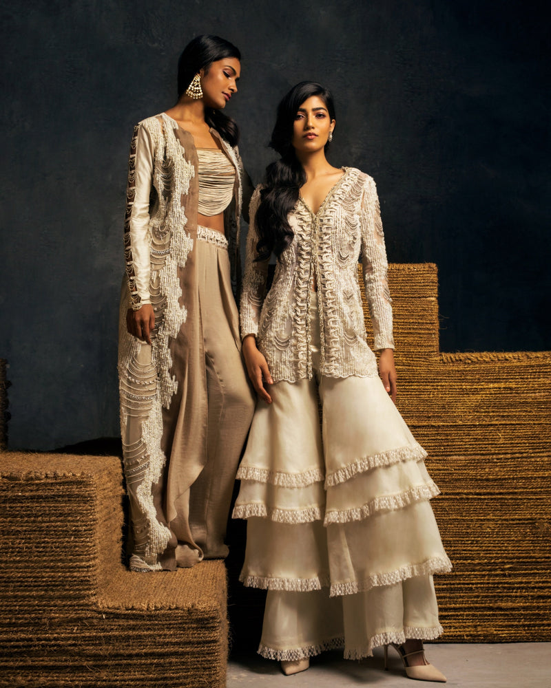 IVORY PEARL EMBROIDERED OVERLAY WITH CROP AND DHOTI PANTS