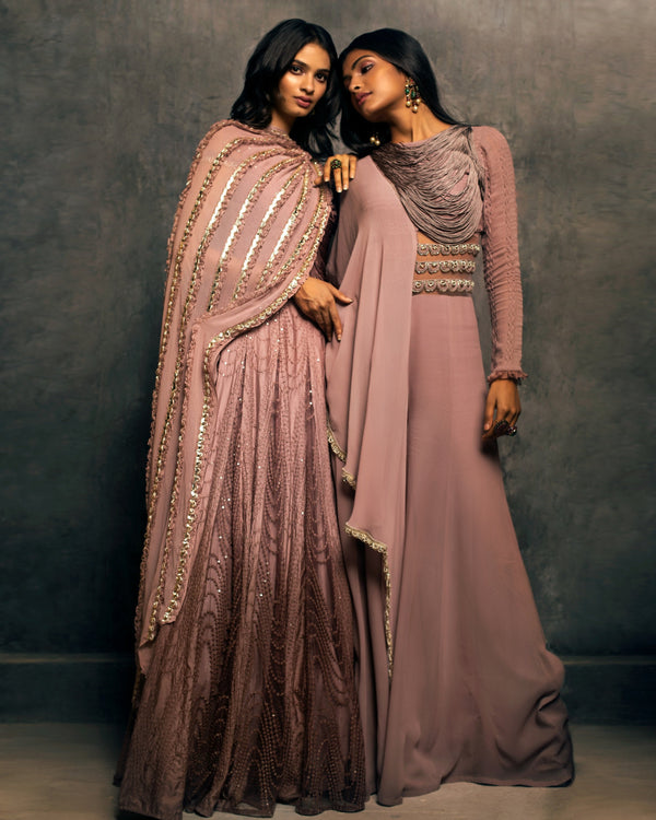 LILAC OMBRE ANARAKALI WITH ATTACHED DUPATTA