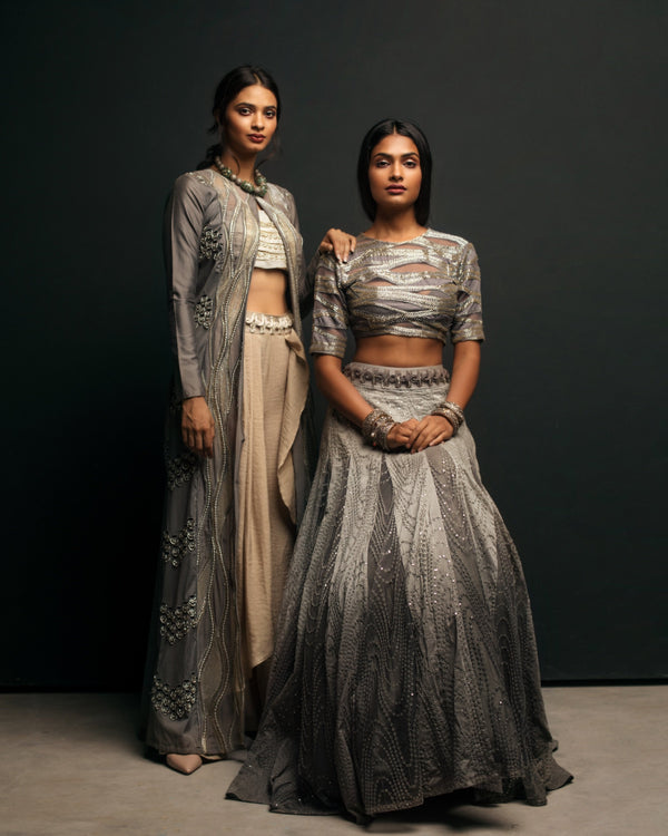 GREY OMBRE LEHENGA WITH BLOUSE AND DUPATTA