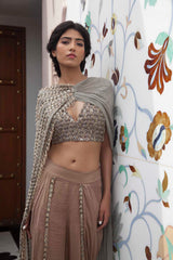 STEEL GREY EMBROIDERED BLOUSE WITH SIDE DRAPED DUPATTA AND OVERLAP DHOTI