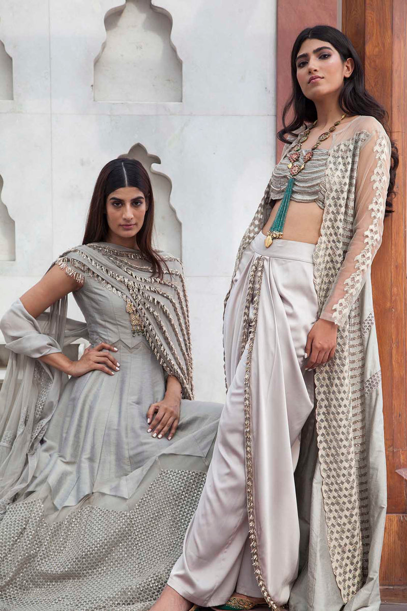 GREY EMBROIDERED JACKET WITH BUSTIER AND DHOTI PANTS
