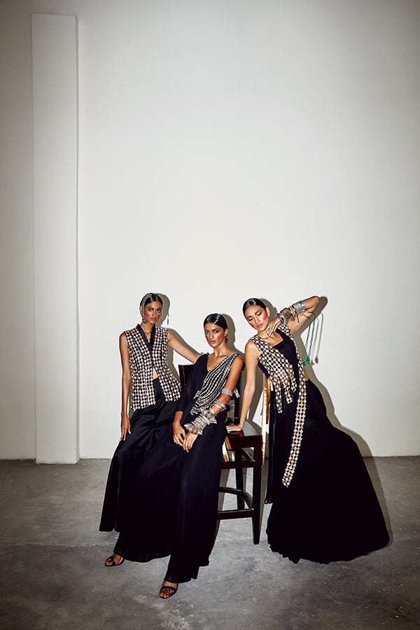 THE GEO GALA MONOTRIBE BLACK EMBROIDERED JUMPSUIT (CENTER)