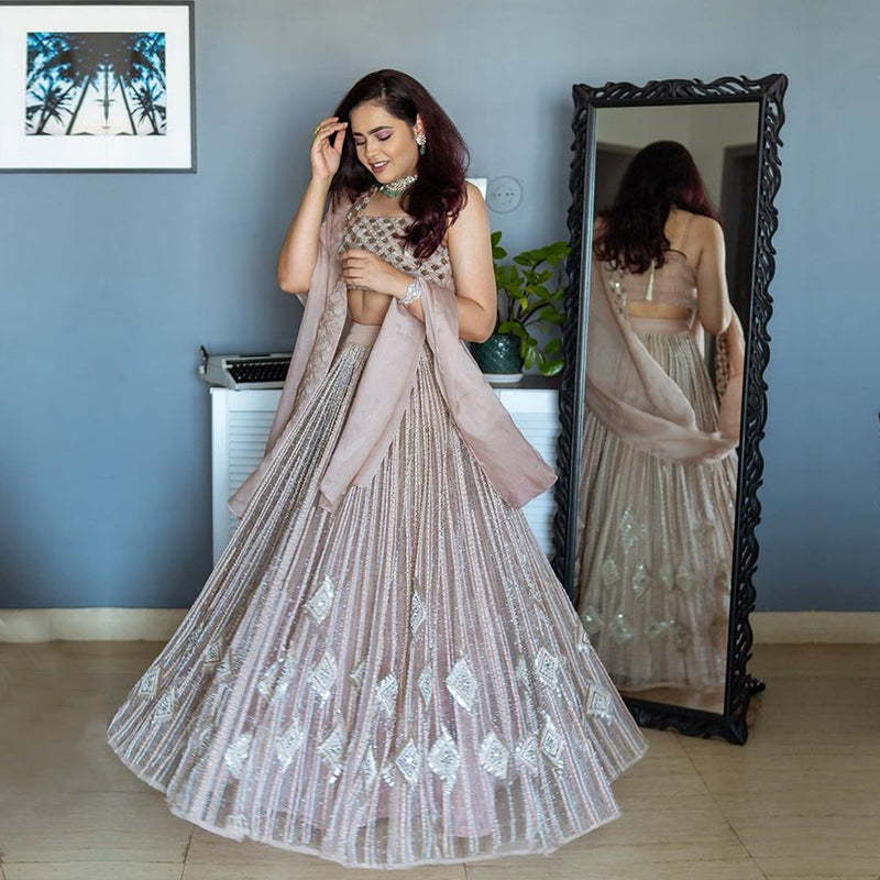 INFLUENCER AYUSHI BANGUR IN OUR GEO GALA WEDDING TRIBE PEARL EMBROIDERED LEHENGA