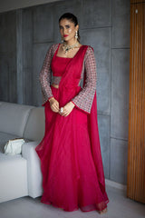 ALISHA PEKHA IN OUR NOMADIC FUCHSIA PRE-DRAPED SHARARA SAREE