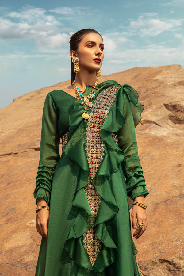 NOMADIC EMERALD GREEN EMBROIDERED JUMPSUIT