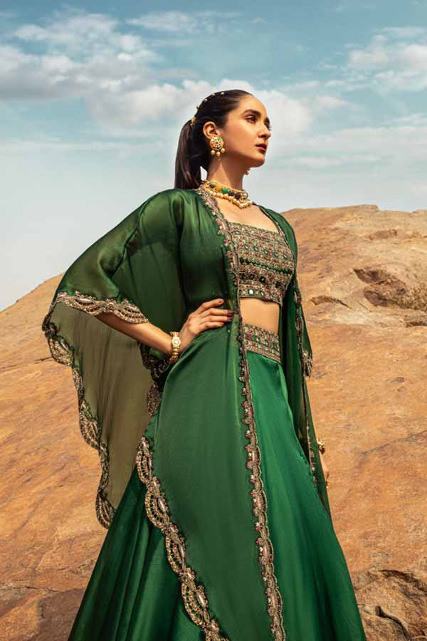 NOMADIC EMERALD GREEN EMBROIDERED LEHENGA