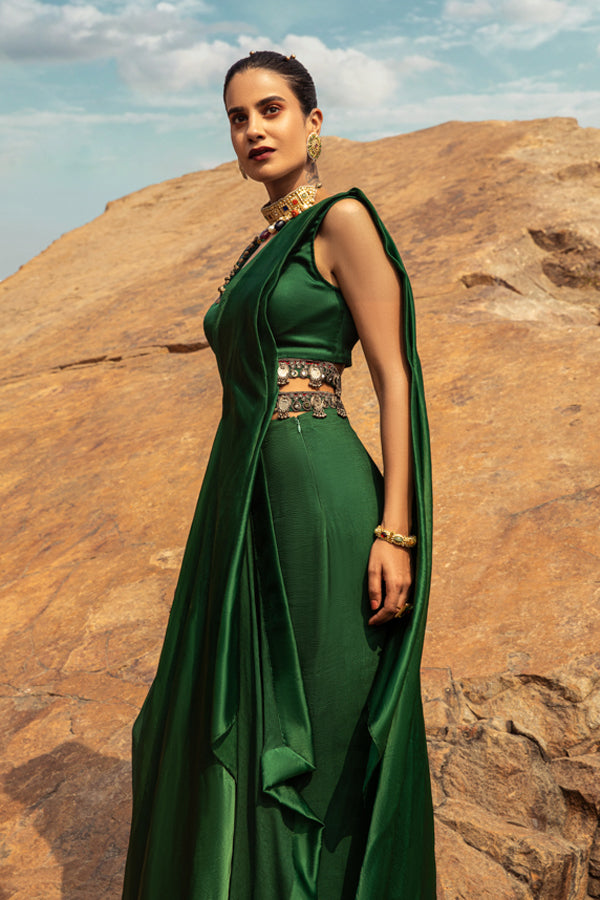NOMADIC EMERALD GREEN PRE-DRAPED SAREE
