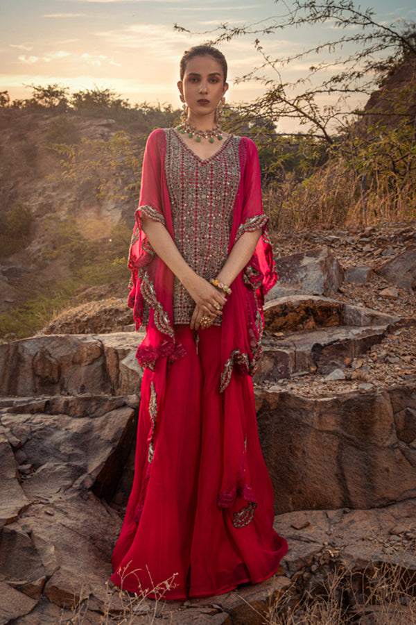 NOMADIC FUCHSIA EMBROIDERED KURTA SET