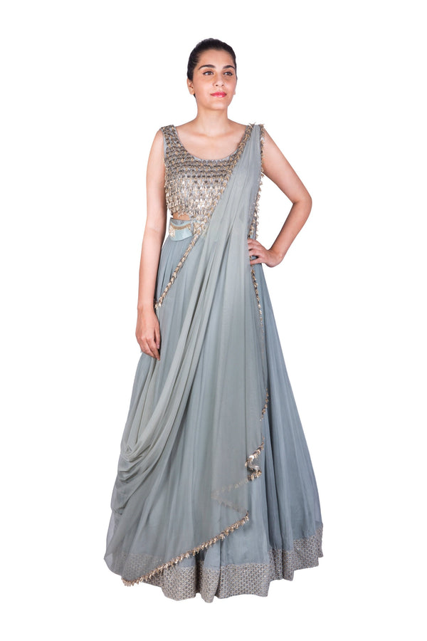 TURQUOISE EMBROIDERED SIDE CUT ANARKALI