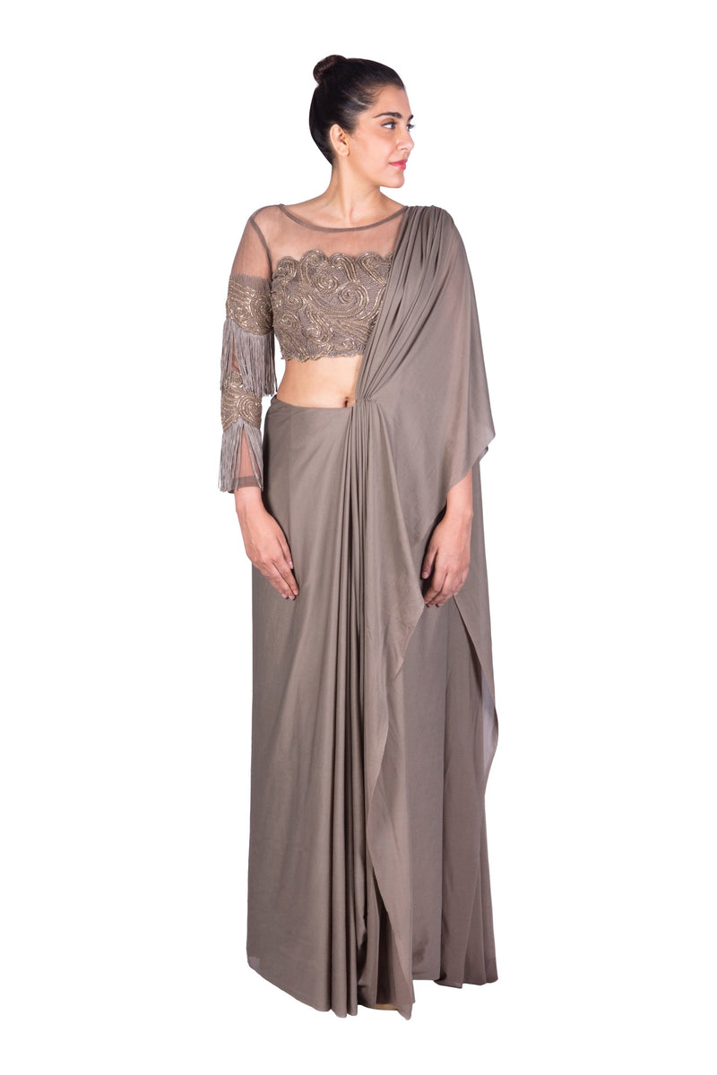 GREY EMBROIDERED TASELLED BLOUSE WITH SAREE