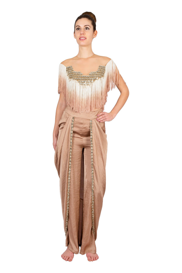GOLD TASSEL CROP WITH OVERLAP DHOTI