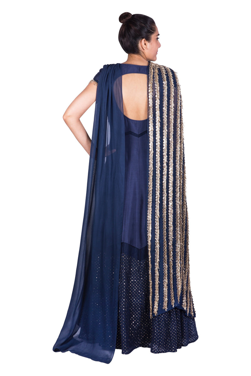 NAVY BLUE ANARKALI WITH SIDE DRAPED DUPATTA