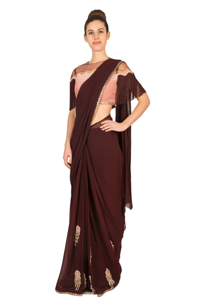 MAROON DRAPED SAREE WITH FRINGED BLOUSE