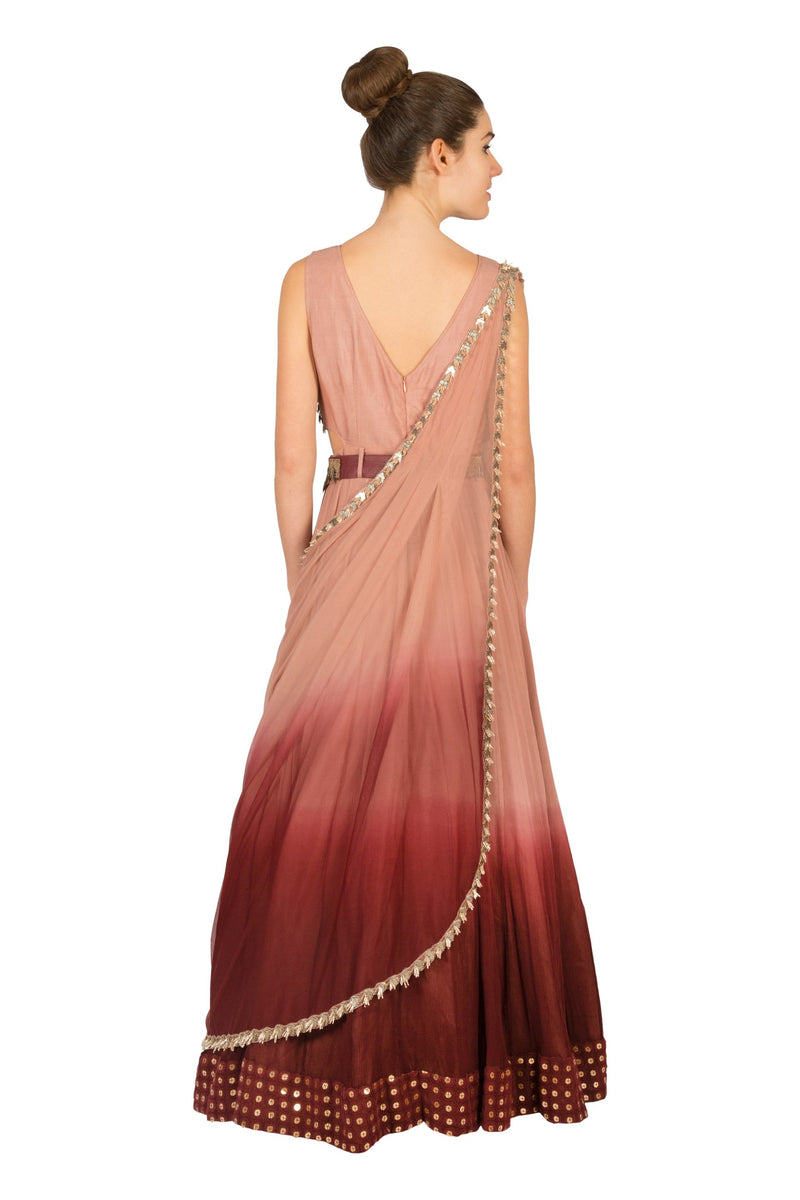 MAROON OMBRE SIDE CUT ANARKALI WITH DRAPED DUPATTA