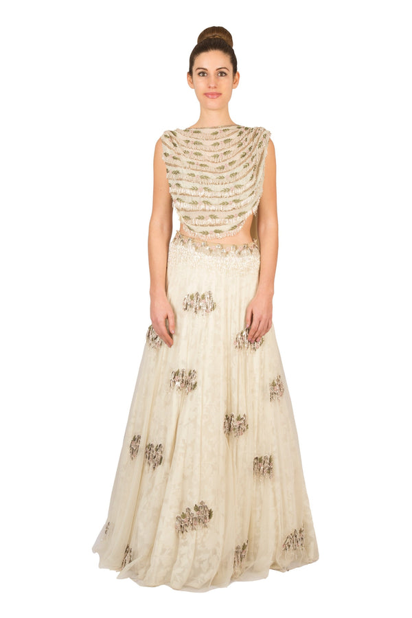 IVORY DRAPED CROP WITH LAYERED SKIRT
