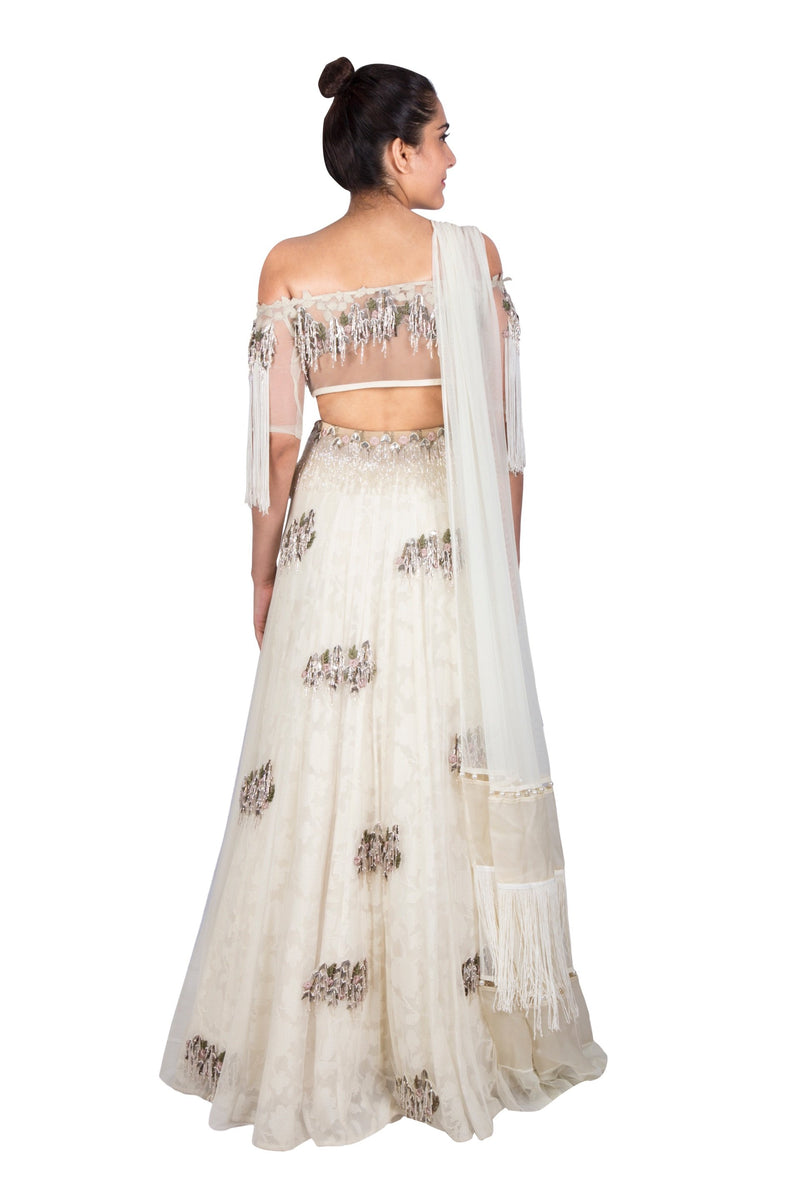 IVORY OFF SHOULDER CROP WITH LAYERED SKIRT AND DUPATTA