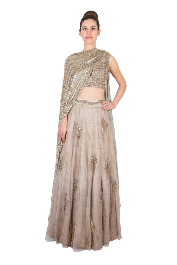 BROWN EMBROIDERED LEHENGA WITH BLOUSE AND DUPATTA