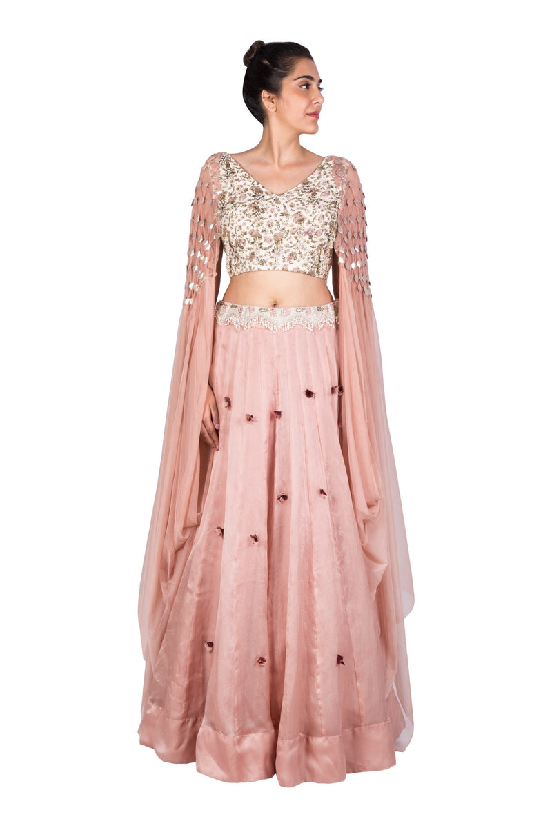 PINK CROP CAPE WITH EMBELLISHED SKIRT