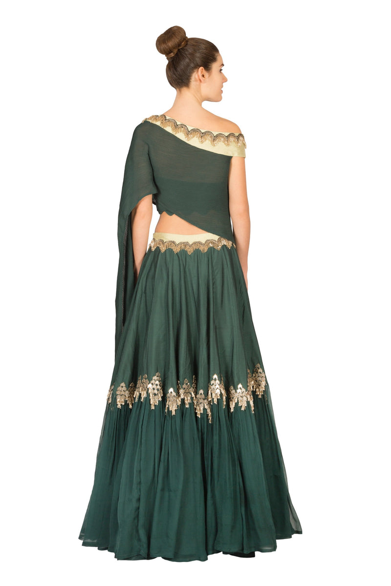 EMERALD GREEN ASYMMETRIC TOP WITH LAYERED SKIRT