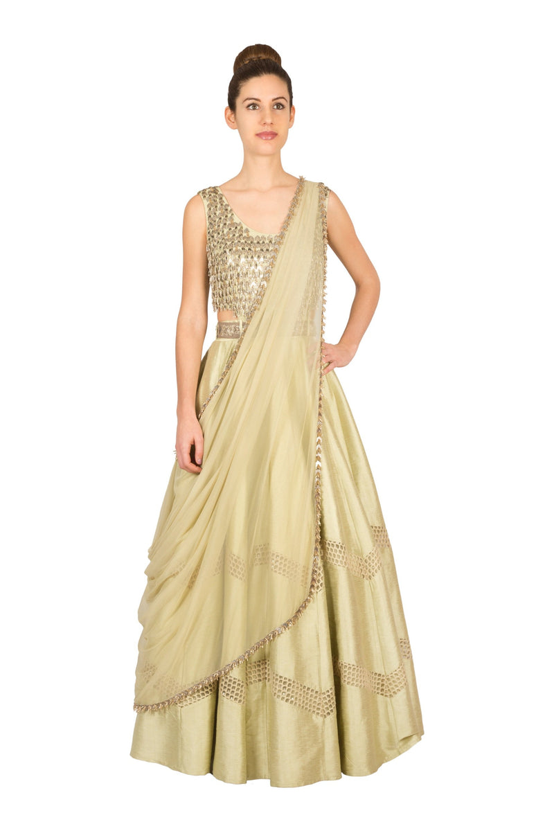 BEIGE EMBROIDERED SIDE CUT ANARKALI