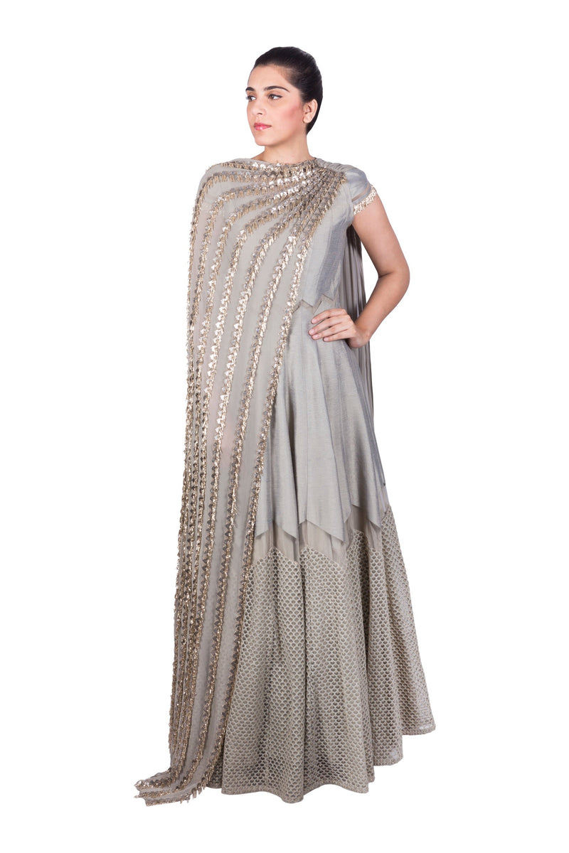 STEEL GREY ANARKALI WITH SIDE DRAPED DUPATTA