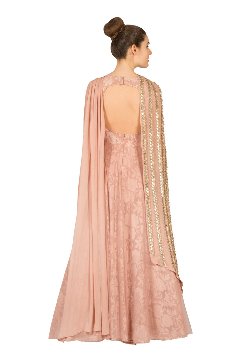 PINK ANARKALI WITH SIDE DRAPED DUPATTA