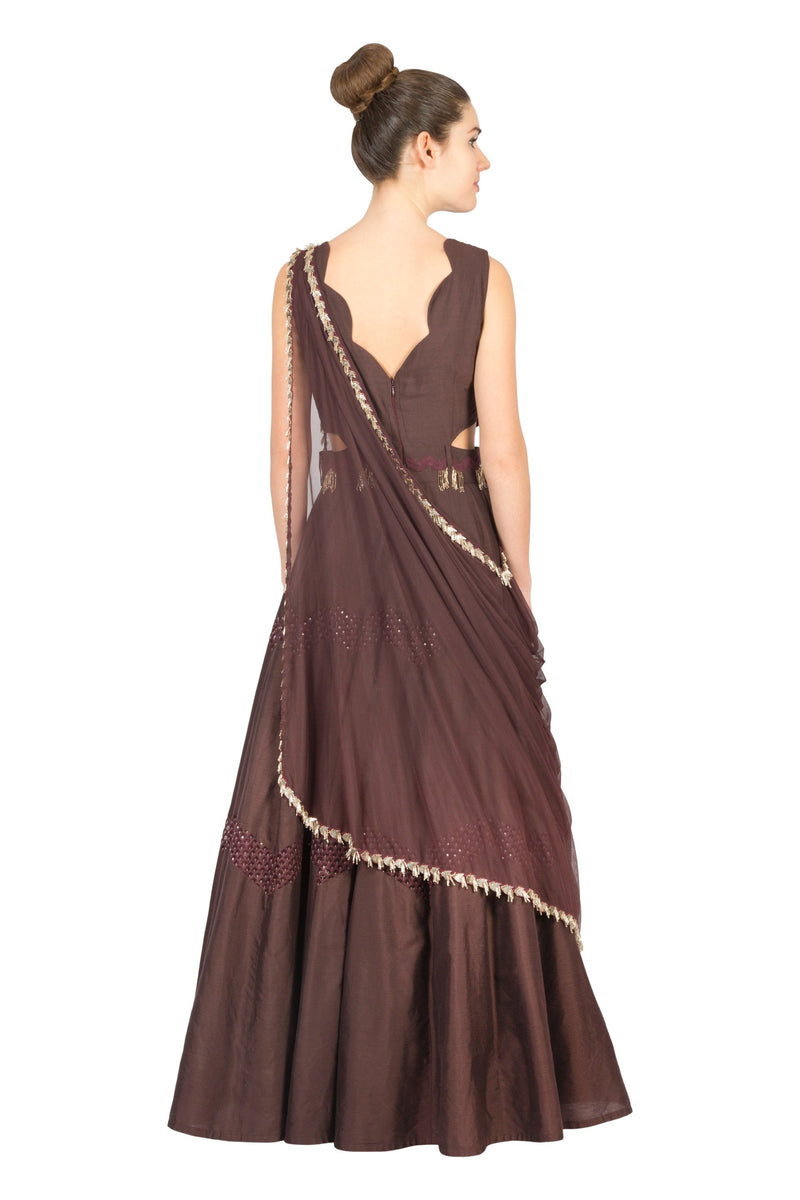 MAROON EMBROIDERED SIDE CUT ANARKALI