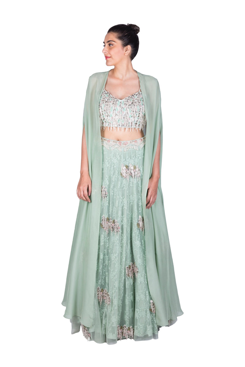SEA GREEN LEHENGA WITH BRALET AND CAPE DUPATTA