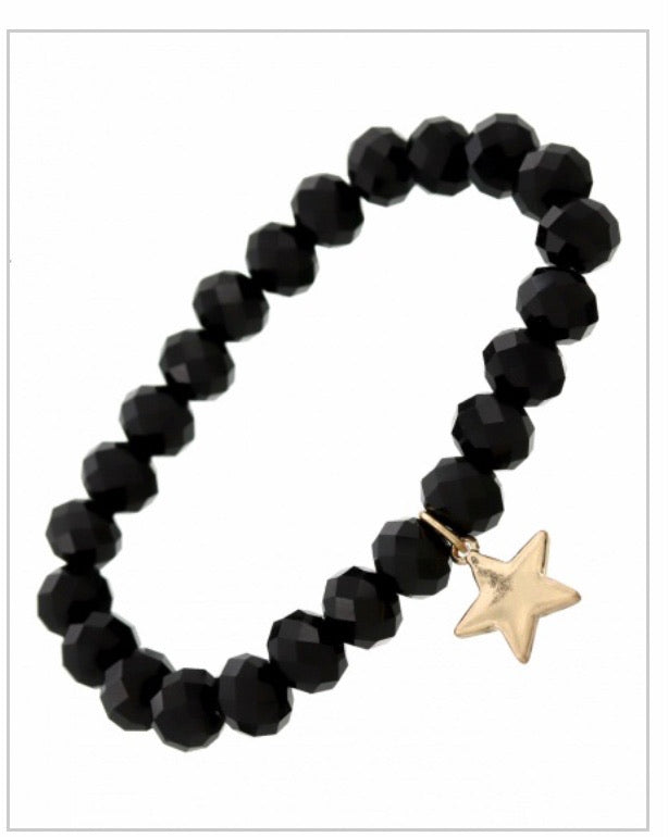Black Glass Star Charm Bracelet
