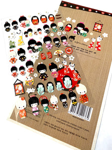01010 Kokeshi Korean paper Sticker-12