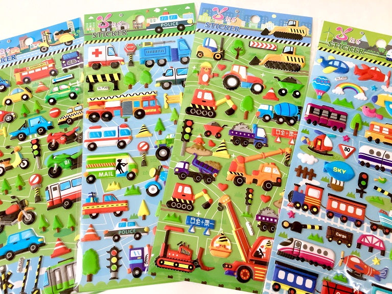 10124-Trucks and Trains Puffy Sticker-12