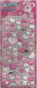 10248 RABBIT HEART CRYSTAL PUFFY STICKERS-12