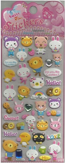 10251 ANIMAL CRYSTAL PUFFY STICKERS-12