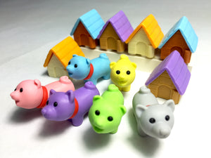 38029 IWAKO DOG HOUSE ERASERS-6 NEW COLORS-60