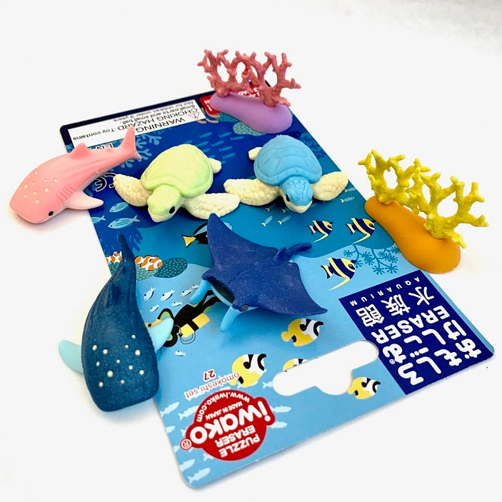 38316 IWAKO AQUARIUM ERASER CARD-10 CARDS