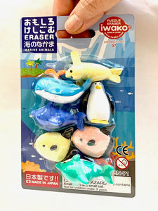 38339 IWAKO SEA WORLD ERASER CARD-10 CARDS