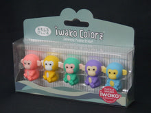 Load image into Gallery viewer, 38455 Iwako Colorz Monkey -12 sets of 5 Erasers
