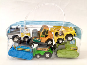72010 6 PLASTIC PULLBACK TRUCKS IN A BAG-12 BAGS