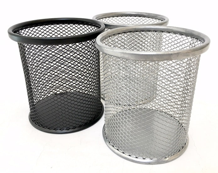 99906 MESH STEEL PEN CUP-BLACK AND SILVER-12