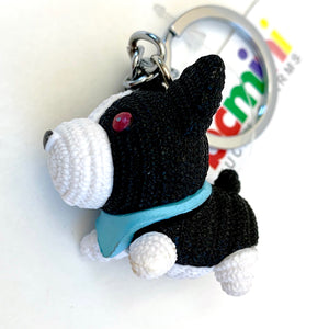 12027 KNITTED DOGS CHARM with keyring-12