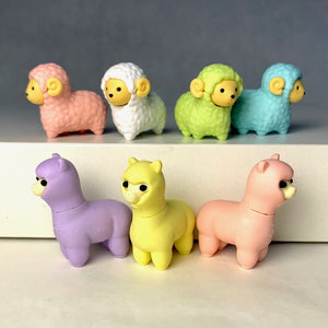 380201 IWAKO SHEEP & LLAMA ERASERS-ASSORTED-30