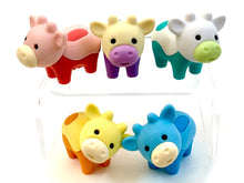 Load image into Gallery viewer, 384541 IWAKO Colorz Cows -1 box of 5 Erasers