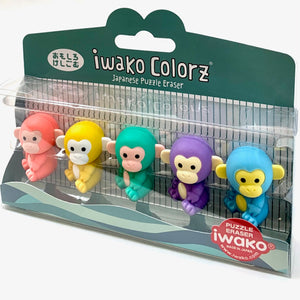 38455 Iwako Colorz Monkey -12 sets of 5 Erasers