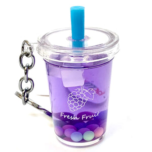 12042 FRUIT BOBA DRINK CHARM with keyring-12 in 5 colors.