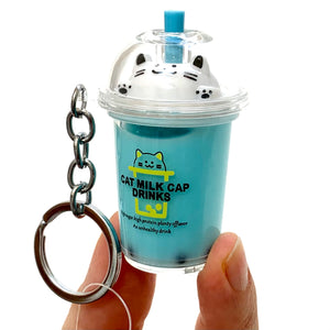 12041 BOBA TEA CAT CHARM with keyring-12