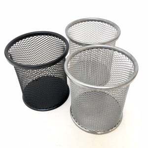99906 MESH STEEL PEN CUP BLACK -12
